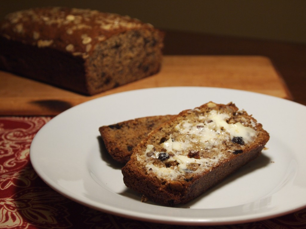 banana bread with oats and currants