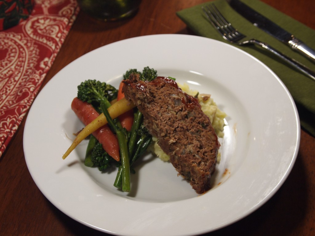 meatloaf with potato/parsnip mash and steamed veggies