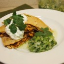 chicken mole quesadilla with salsa verde