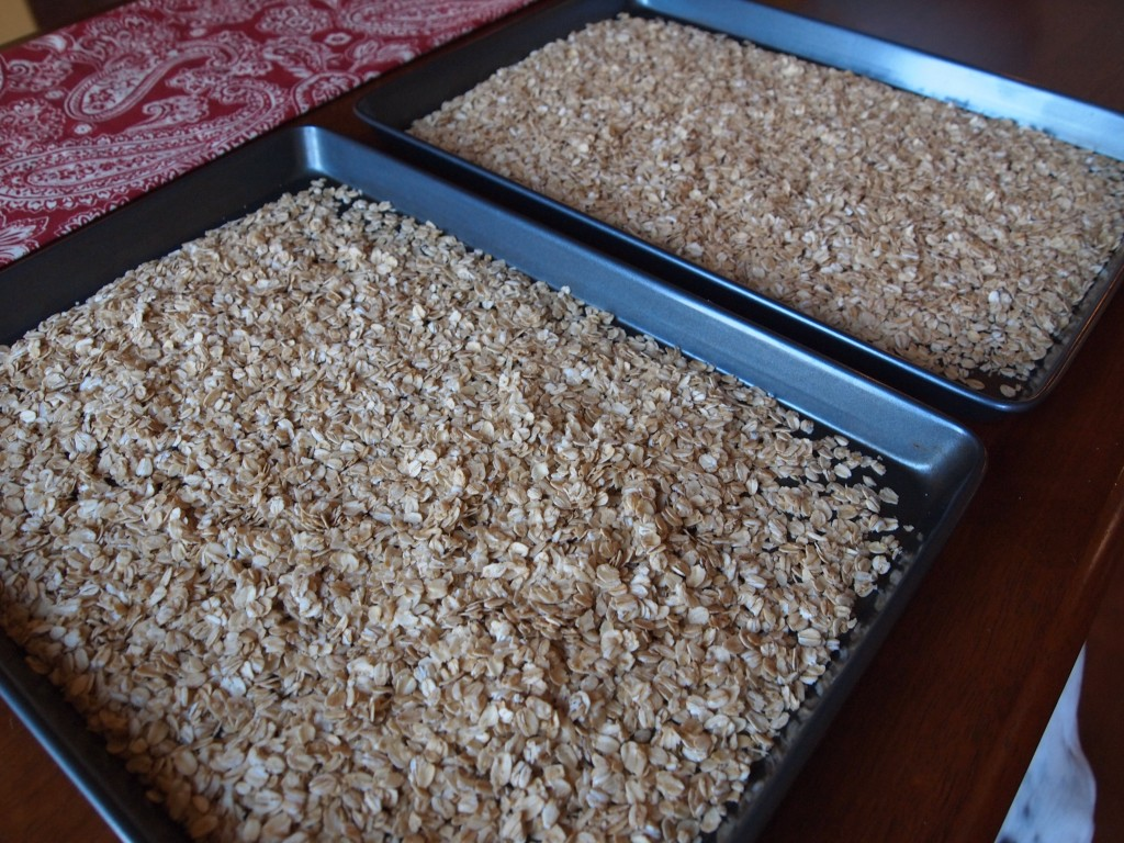 pans of oats, ready for toasting