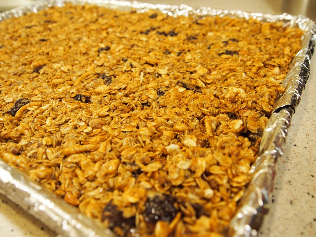 pan of uncooked granola