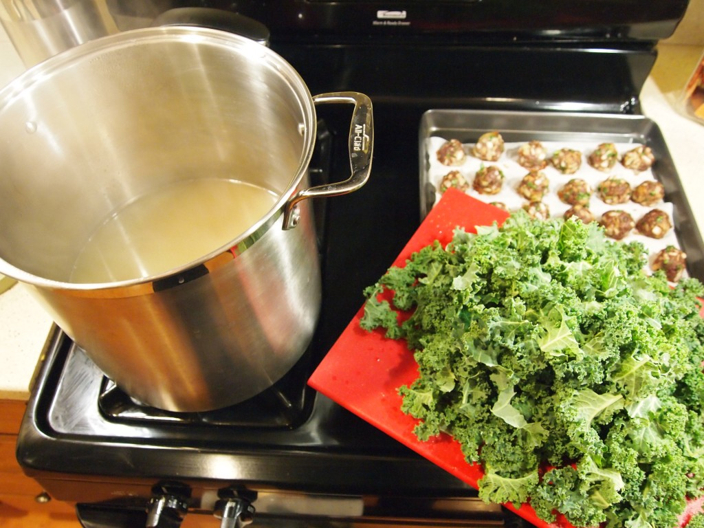 broth, kale and meatballs