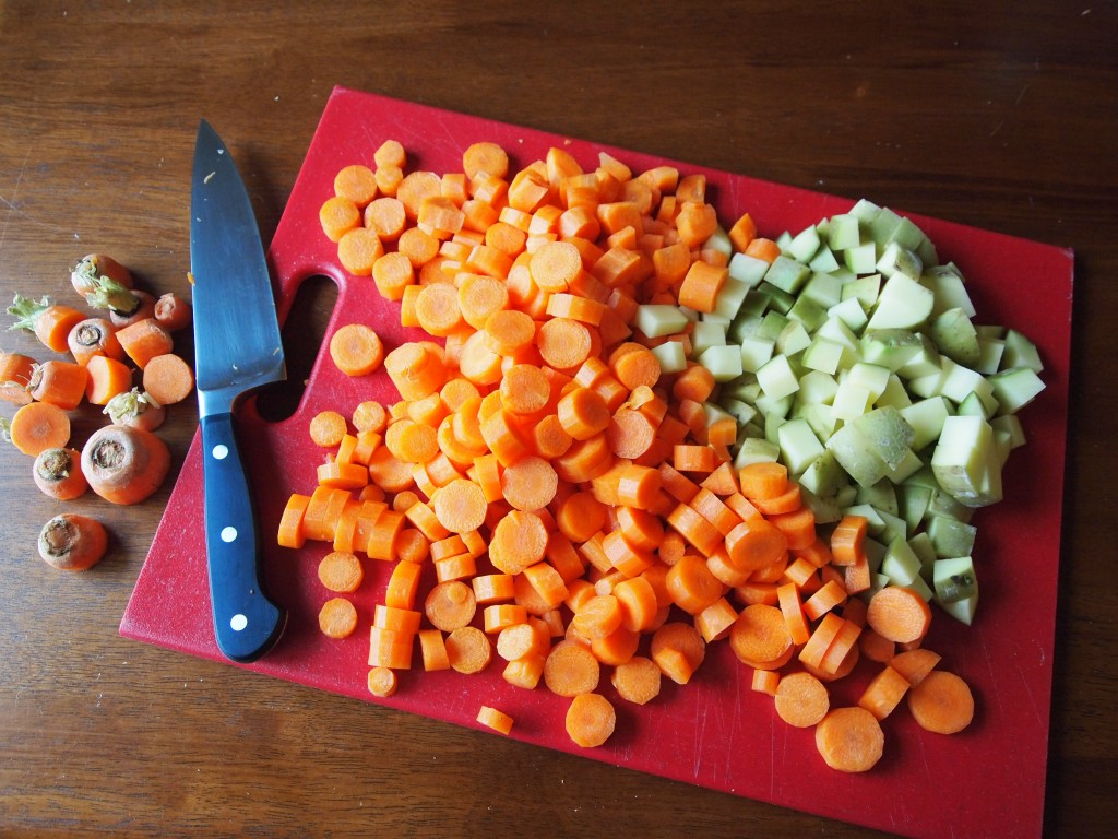 chopped carrots and potatoes