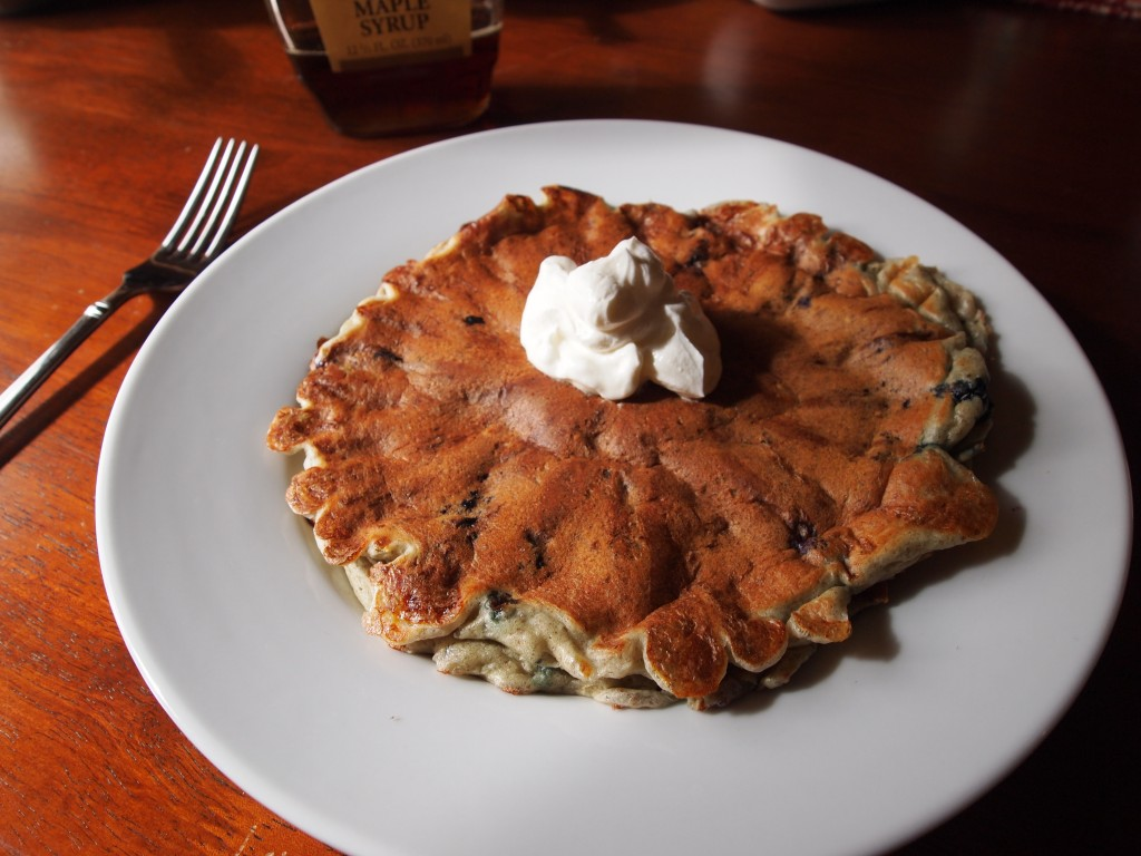 pancake topped with sour cream