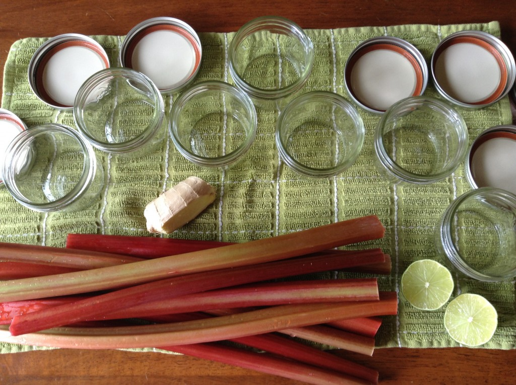 Rhubarb, ginger, lime, jars